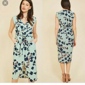 Floral Midi Dress ModCloth XS Blue
